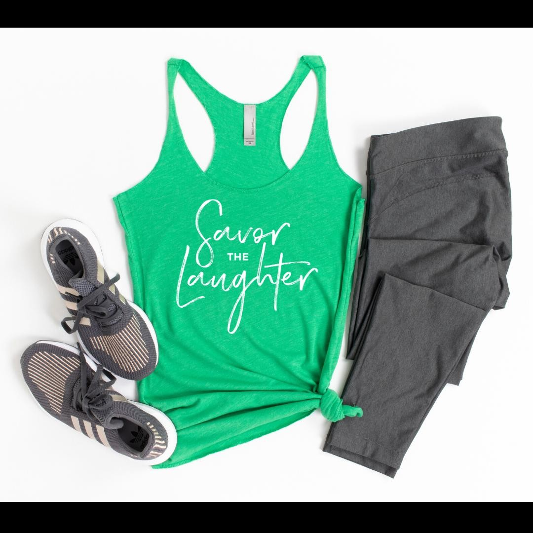 Laughter feels extra good lately, doesn't it? Our shop is still open if you could use an inspiring message for yourself or for a friend during this difficult year.Tanks come in Envy (pictured), Indigo, and Vintage Purple tri-blend... and are perfect for working out or lounging.Please note, there's a shipping delay at our warehouse due to safety and staffing.5% of net proceeds goes to @mentalhealthamerica. Link to shop is in my bio.#ichoosebeauty #laughterisgoodforthesoul #laughtertherapy #laughterishealing #covid2020 #lifeinthetimeofcorona #wearabletherapy #wearableart #wordsofencouragement #tanktops #athleisurewear #athleisurestyle #yogaclothes #yogastyle #workoutclothes #workoutinstyle #workoutapparel #workoutgear #workoutwear #giftsforfriends #perfectgifts #mentalhealthsupport #mentalhealthisimportant