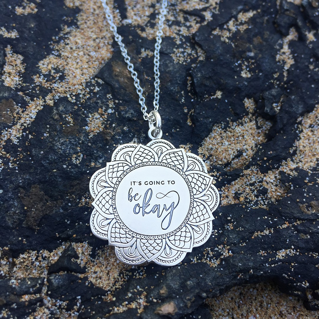 ⁠2020 has challenged us in all kinds of ways. And even though it may not seem like it right now - things really will be okay. ️⁠⁠⁠Link to shop our custom laser-engraved sterling silver pendants is in my bio. ⁠⁠5% of net proceeds goes to @mentalhealthamerica. ⁠⁠⁠⁠⁠⁠⁠⁠⁠⁠#ichoosebeauty #itsgoingtobeokay #itsgoingtobeok #wearabletherapy #statementnecklaces #pendantnecklace #sterlingsilvernecklace #sterlingsilverjewelry #inspirationalwords #inspirationalmessage #inspirationalthoughts #liveinspired #takecareofyou #mantras #giftideasforher #giftsforfriends #mentalwellness #mentalhealthsupport #comforting #grounding #groundingenergy #groundingtechniques