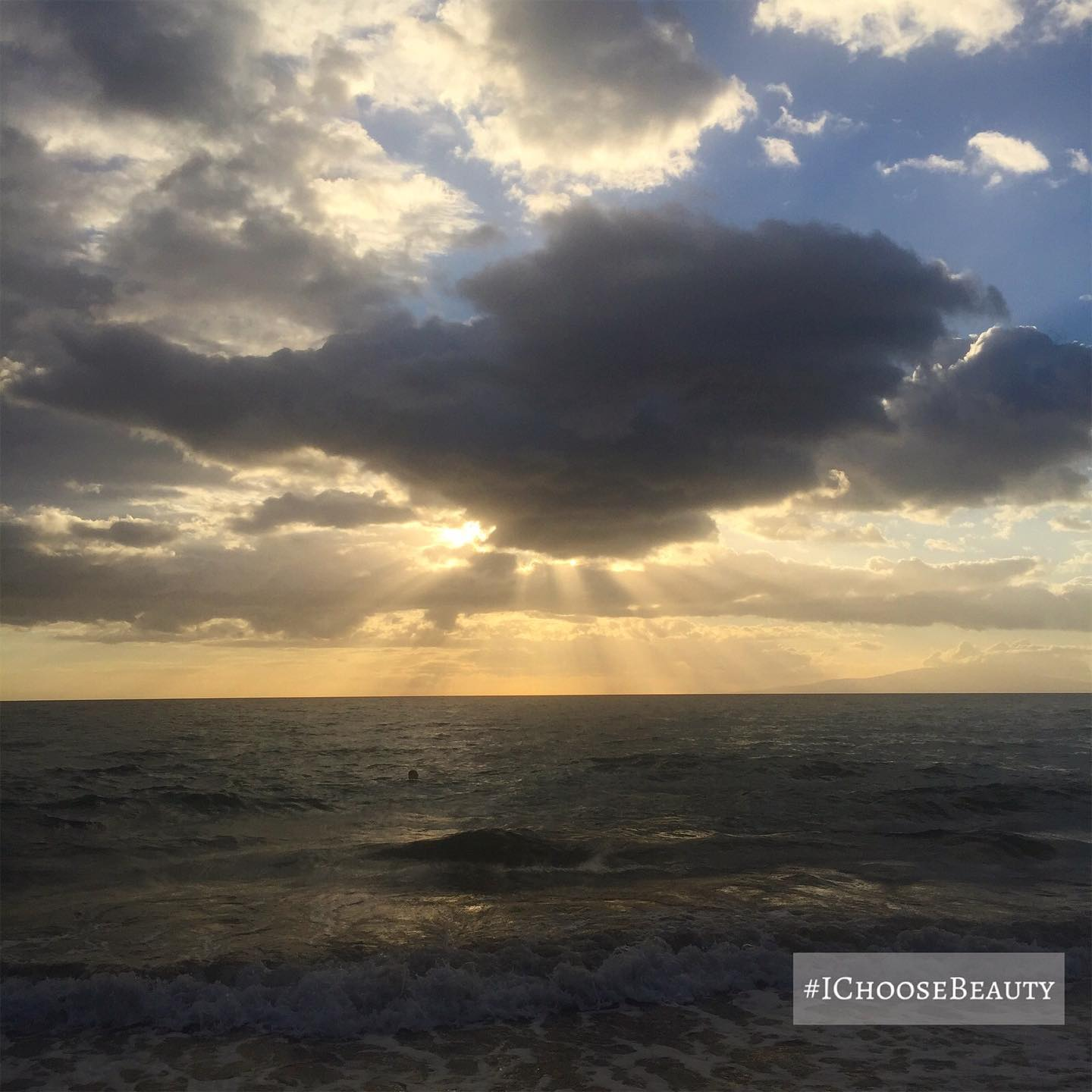 Look at the sun's rays beaming down through the dark clouds - a reminder to look for the light during difficult times. ️️ #ichoosebeauty Day 2504