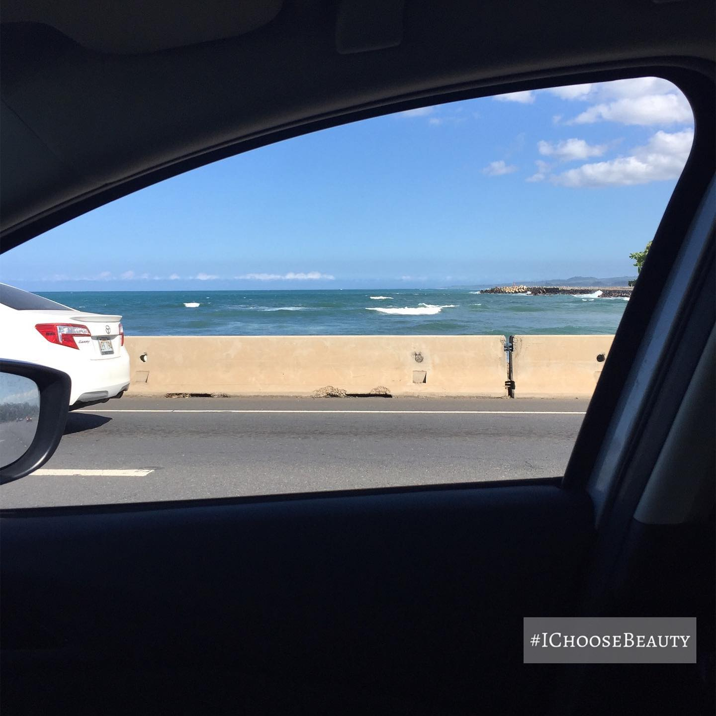 Stoplight view by our condo. I always roll down the windows so I can smell the ocean and hear the waves crashing.  #ichoosebeauty Day 2610