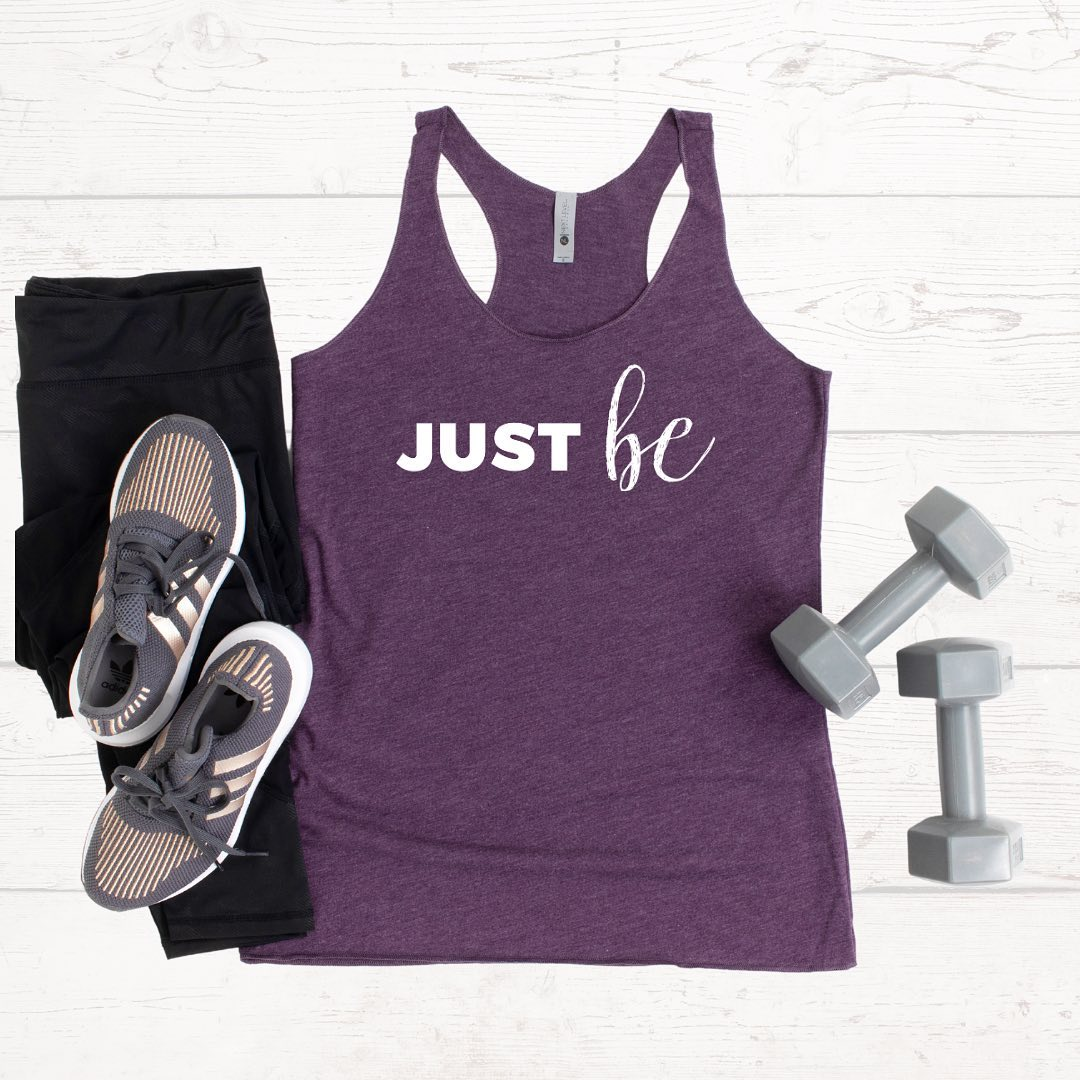 Just be. ⁣⁣Tanks come in Vintage Purple (pictured), Envy, and Indigo tri-blend... and are perfect for working out, running errands, or lounging.⁣⁠⁣5% of net proceeds goes to @mentalhealthamerica. Tap to shop.
