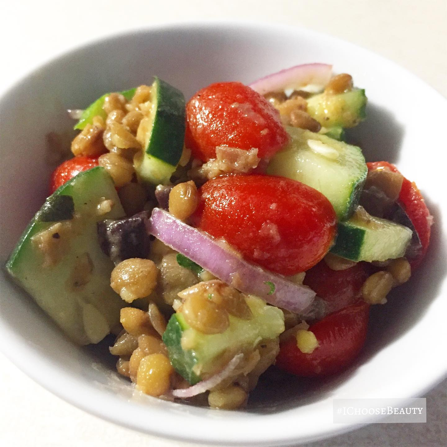 This totally hit the spot- lentil salad with cucumbers and tomatoes.  #ichoosebeauty Day 2704