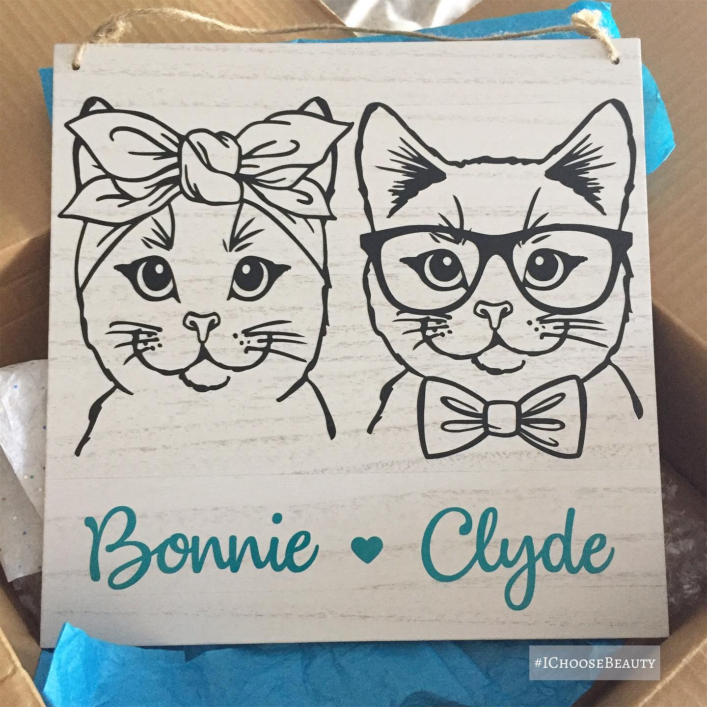 Look what just arrived!  Our new cat kids sign, made by the lovely and talented @shellnicole511 @shellnicolecreations! Bonnie and Clyde are thrilled, of course.  #ichoosebeauty Day 2733