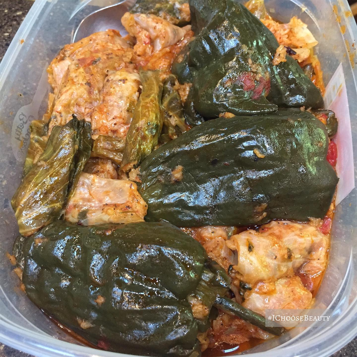 My dad's Egyptian friend made us a delicious traditional Egyptian dinner tonight - stuffed cabbage and stuffed peppers. My stomach and heart are so happy. ️️ Also, swipe to see the container he brought the food in.  #ichoosebeauty Day 2760