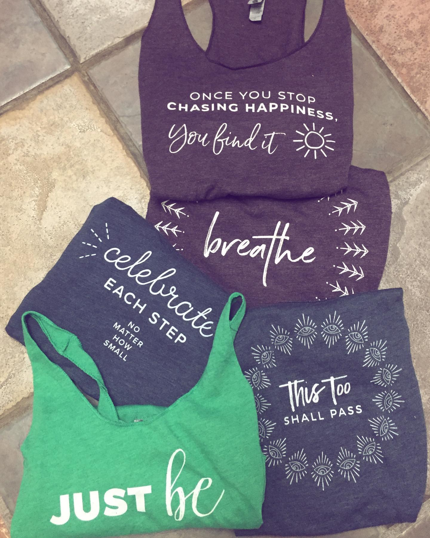 Brought just a few of my favorite tanks on this trip.  The messages still empower and center me, even after all these years. Plus they're pretty much all I wear when I work out. 🤷🏽♀️Tank tops come in Indigo, Envy, and Vintage Purple tri-blend... and are super soft and comfortable. 5% of net proceeds goes to @mentalhealthamerica.