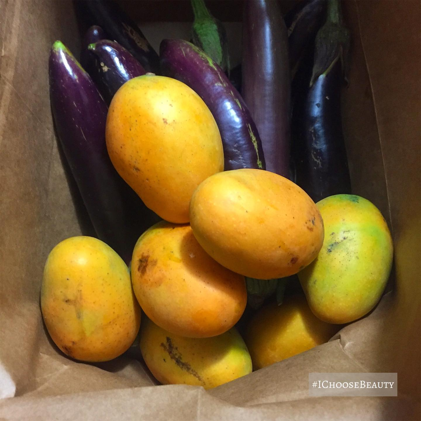 When your neighbor drops off a bag of freshly picked mangoes and eggplant.  #ichoosebeauty Day 2785