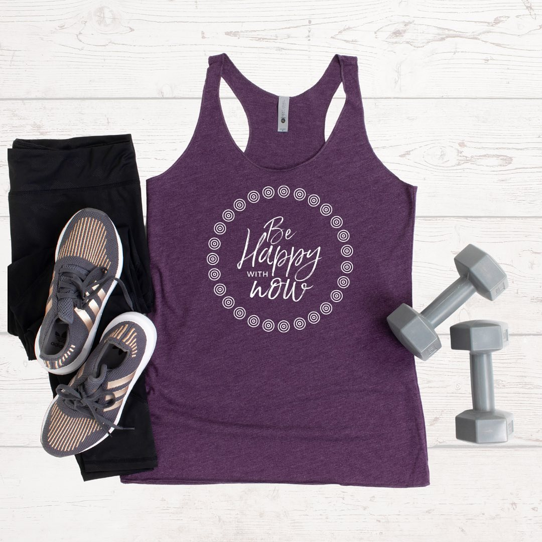 be happy with nowReminder: Wanting more in your life doesn't mean what you have now isn't meaningful. You can still go after your dreams while at the same time, be grateful for all that you already have.Tanks come in Vintage Purple (pictured), Envy, and Indigo tri-blend... and are perfect for working out, lounging, or running errands - whenever you need this empowering reminder. 5% of net proceeds goes to @mentalhealthamerica. 